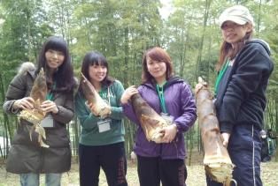 Bamboo shoots and us. (Author on the left end)