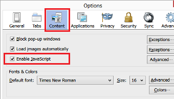 Enable javascript and cookies date and time time zone settings 2 choose the content tab and check enable javascript ccuart Gallery
