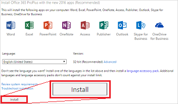 cannot install office pro plus 2016