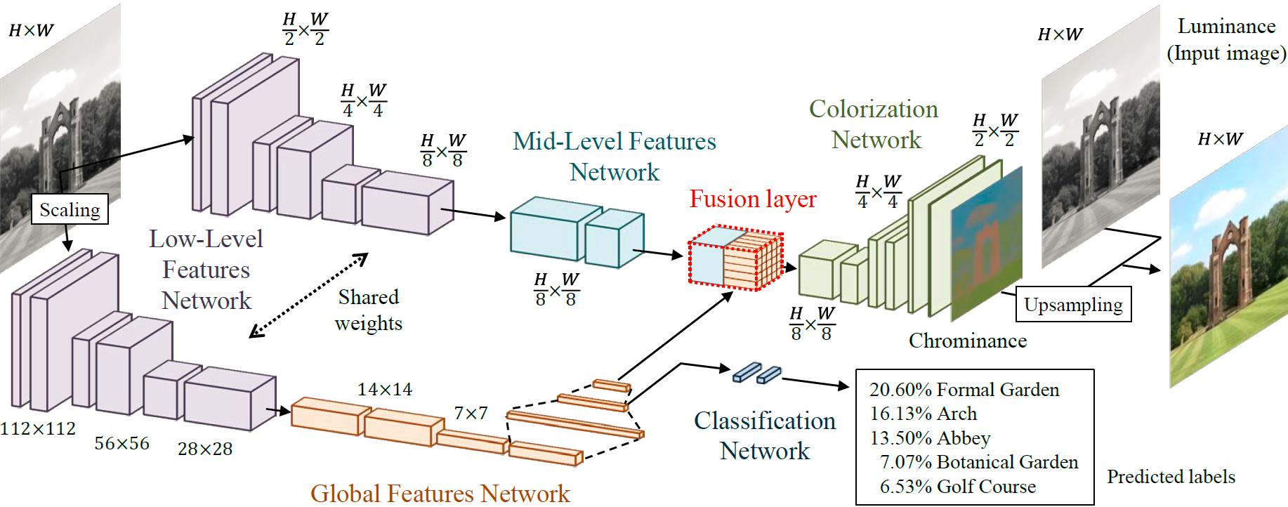 図1ディープネットワークを用いた大域特徴と局所特徴の学習による色付けのモデル構造