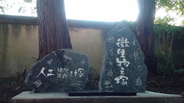町屋石で彫られた人工細胞・人工生命と微生物の慰霊碑
