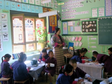 Elementary school students studying Dzongkha
