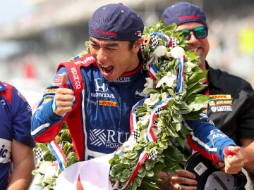 INDIANAPOLIS, IN - MAY 28: Takuma Sato of Japan, driver of the #26 Andretti Autosport Honda, celebrates after winning the 101st Indianapolis 500 at Indianapolis Motorspeedway on May 28, 2017 in Indianapolis, Indiana.   Chris Graythen/Getty Images/AFP