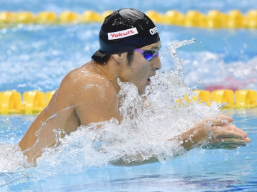 Seto doing the breaststroke in the 400m inidividual medley (Photo: Kyodo)