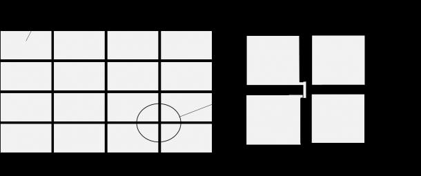 図6 透明電極の構造(区分けされた透明電極同士を細い透明電極でつないでいます)