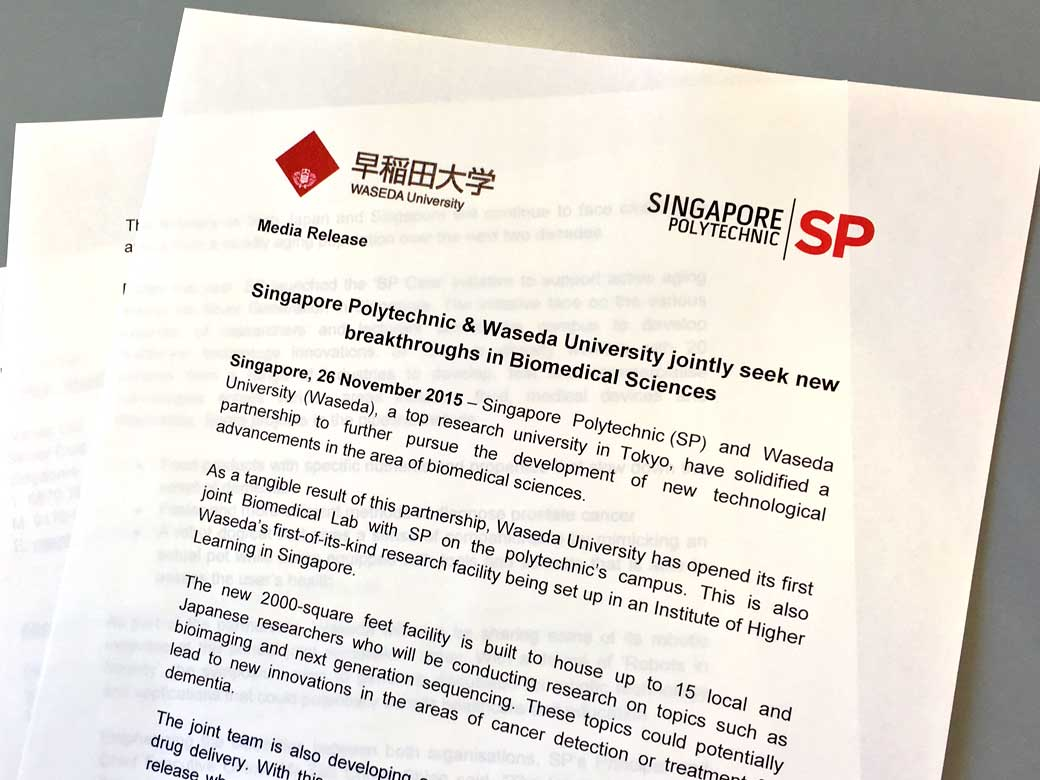 Waseda & Singapore Polytechnic jointly seek new breakthroughs in Biomedical Sciences