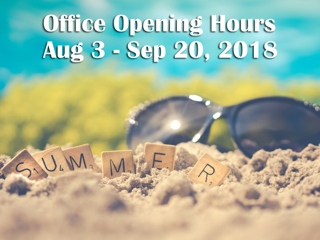 2018 Summer break office hours